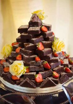 Brownie tower wedding cake