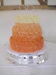 ombra rose wedding cake